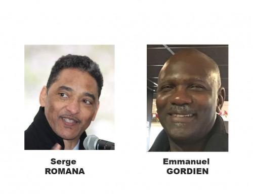 Serge ROMANA passe le témoin à Emmanuel GORDIEN  à la présidence du Comité Marche du 23 Mai 1998 (CM98)