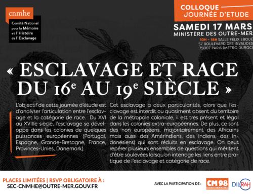 Colloque «Esclavage et race du 16e au 19 siècle» : samedi 17 mars 2018