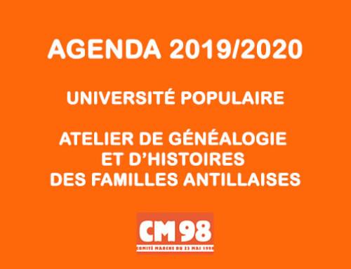 Agenda de l'atelier de généalogie et d'histoires des familles antillaises et de l'université populaire du CM98 2018/2019